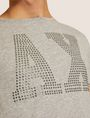 ARMANI EXCHANGE SLIM-FIT STUDDED VARSITY LOGO CREW Logo T-shirt Man b