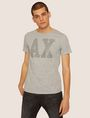ARMANI EXCHANGE SLIM-FIT STUDDED VARSITY LOGO CREW Logo T-shirt Man f