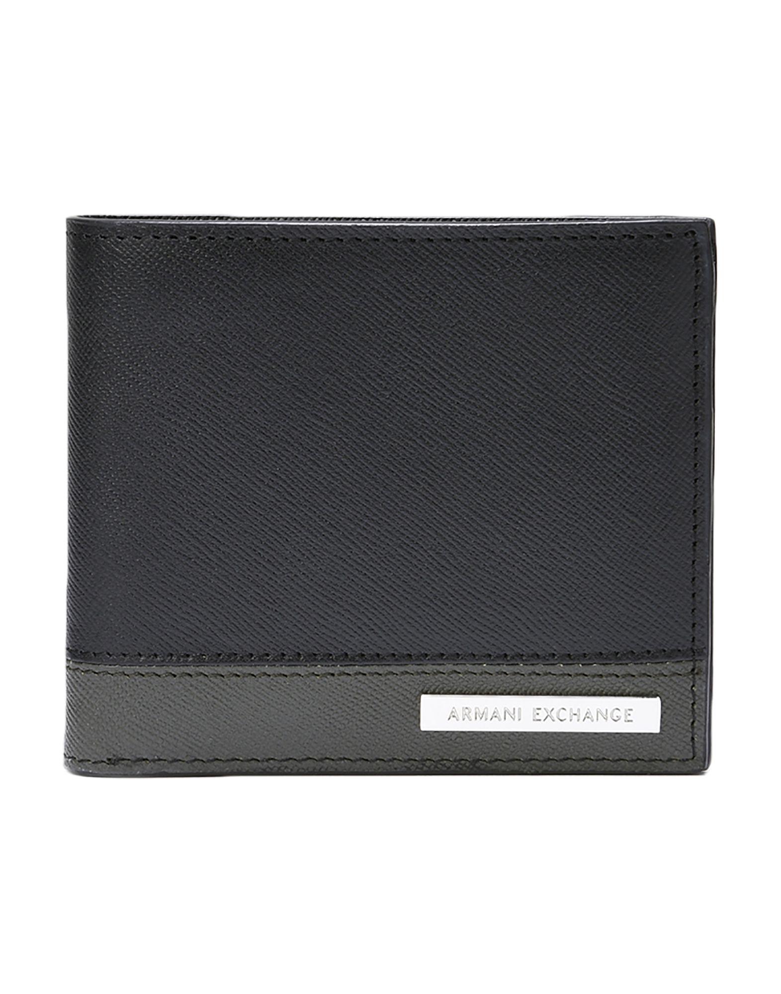 《送料無料》ARMANI EXCHANGE メンズ 財布 ブラック 牛革 100%