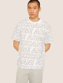 ARMANI EXCHANGE LOOSE-FIT ALLOVER LOGO PRINT CREW Logo T-shirt [*** pickupInStoreShippingNotGuaranteed_info ***] f