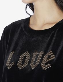 ARMANI EXCHANGE STUDDED VELVET LOVE TOP Graphic T-shirt [*** pickupInStoreShipping_info ***] b