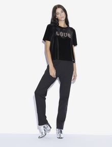 ARMANI EXCHANGE STUDDED VELVET LOVE TOP Graphic T-shirt [*** pickupInStoreShipping_info ***] d