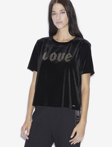 ARMANI EXCHANGE STUDDED VELVET LOVE TOP Graphic T-shirt [*** pickupInStoreShipping_info ***] f