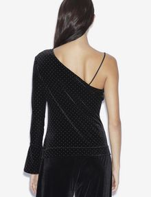 ARMANI EXCHANGE ONE-SHOULDER GOLD STUDDED VELVET TOP Printed Top [*** pickupInStoreShipping_info ***] e