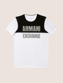 ARMANI EXCHANGE SLIM-FIT GEO LOGO COLORBLOCK CREW Logo T-shirt [*** pickupInStoreShippingNotGuaranteed_info ***] r
