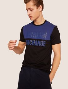 ARMANI EXCHANGE SLIM-FIT GEO LOGO COLORBLOCK CREW Logo T-shirt [*** pickupInStoreShippingNotGuaranteed_info ***] a