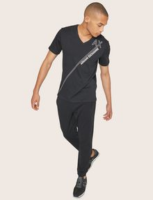 ARMANI EXCHANGE METALLIC DIAGONAL LOGO V-NECK Logo T-shirt [*** pickupInStoreShippingNotGuaranteed_info ***] a