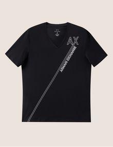 ARMANI EXCHANGE METALLIC DIAGONAL LOGO V-NECK Logo T-shirt [*** pickupInStoreShippingNotGuaranteed_info ***] r