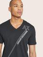 ARMANI EXCHANGE METALLIC DIAGONAL LOGO V-NECK Logo T-shirt [*** pickupInStoreShippingNotGuaranteed_info ***] b