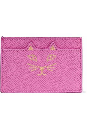 CHARLOTTE OLYMPIA Feline metallic printed textured-leather cardholder