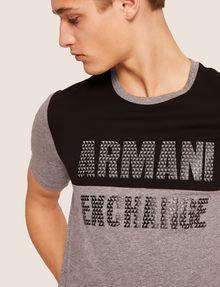 ARMANI EXCHANGE SLIM-FIT GEO LOGO COLORBLOCK CREW Logo T-shirt [*** pickupInStoreShippingNotGuaranteed_info ***] b