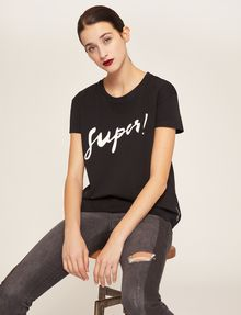 ARMANI EXCHANGE CUTOUT ADJECTIVE CREW Graphic T-shirt Woman a