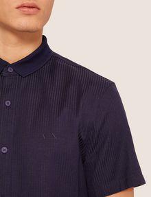 ARMANI EXCHANGE REGULAR-FIT SHORT-SLEEVE RIB LOGO SHIRT Striped Shirt [*** pickupInStoreShippingNotGuaranteed_info ***] b