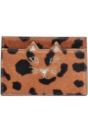 CHARLOTTE OLYMPIA Embroidered printed calf hair cardholder