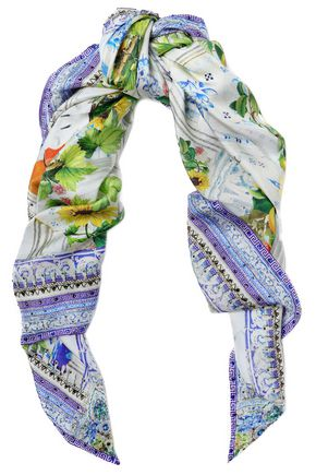 CAMILLA Embellished printed silk-twill scarf