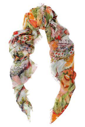 CAMILLA Frayed printed gauze scarf