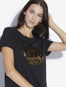 ARMANI EXCHANGE TWO-WAY SEQUIN LOVE TEE Graphic T-shirt [*** pickupInStoreShipping_info ***] a