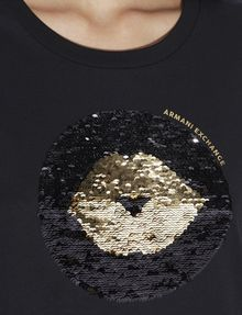 ARMANI EXCHANGE TWO-WAY SEQUIN LOVE TEE Graphic T-shirt [*** pickupInStoreShipping_info ***] b