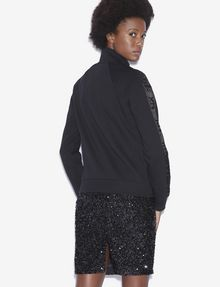 ARMANI EXCHANGE SEQUIN LOGO TAPE ZIP-UP FLEECE JACKET Track top [*** pickupInStoreShipping_info ***] e