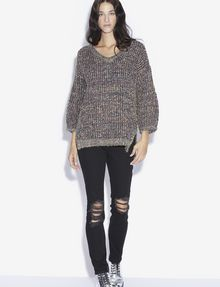 ARMANI EXCHANGE V-NECK BALLOON SLEEVE MIXED YARN SWEATER V-Neck [*** pickupInStoreShipping_info ***] d