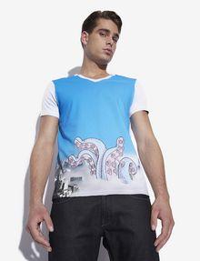 ARMANI EXCHANGE MEN'S STREET ART BY LUCAS LEVITAN V-NECK TEE Graphic T-shirt Man a