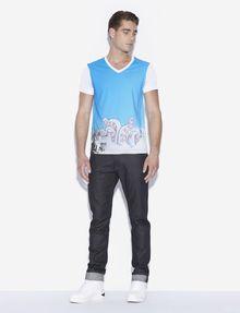 ARMANI EXCHANGE MEN'S STREET ART BY LUCAS LEVITAN V-NECK TEE Graphic T-shirt Man d