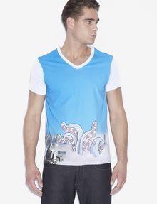 ARMANI EXCHANGE MEN'S STREET ART BY LUCAS LEVITAN V-NECK TEE Graphic T-shirt Man f