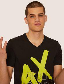 ARMANI EXCHANGE REGULAR-FIT REBEL METALLIC V-NECK Graphic T-shirt Man a