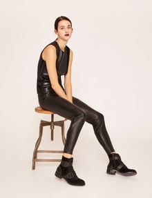 ARMANI EXCHANGE ZIP DETAIL FAUX-LEATHER LEGGING Trouser [*** pickupInStoreShipping_info ***] a