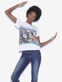ARMANI EXCHANGE WOMEN'S STREET ART BY LUCAS LEVITAN CREWNECK TEE Graphic T-shirt Woman a