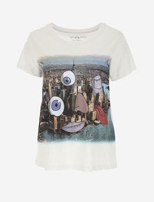 ARMANI EXCHANGE WOMEN'S STREET ART BY LUCAS LEVITAN CREWNECK TEE Graphic T-shirt Woman r