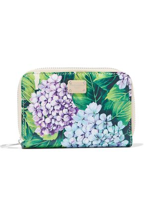 DOLCE & GABBANA Floral-print snake-effect leather wallet