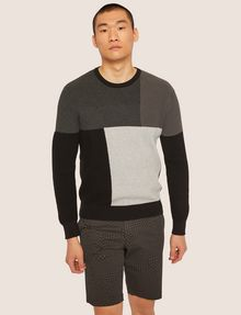 ARMANI EXCHANGE COLORBLOCKED COTTON CREWNECK SWEATER Crew Neck Man f
