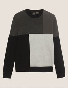 ARMANI EXCHANGE COLORBLOCKED COTTON CREWNECK SWEATER Crew Neck Man r