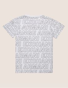 ARMANI EXCHANGE BOYS LOOSE-FIT ALLOVER LOGO CREW Logo T-shirt [*** pickupInStoreShippingNotGuaranteed_info ***] r