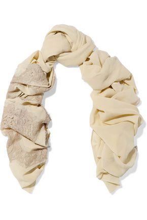 DOLCE & GABBANA Lace-appliquéd silk-blend scarf