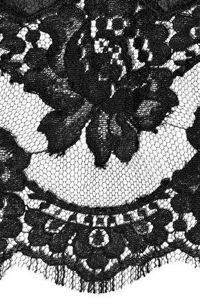 DOLCE & GABBANA Lace-trimmed silk-blend chiffon scarf