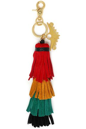 CAMILLA Color-block leather tassel keychain