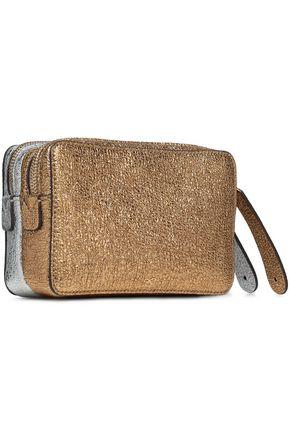 ANYA HINDMARCH Two-tone metallic leather box clutch
