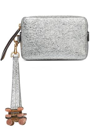 ANYA HINDMARCH Two-tone metallic leather box clutch