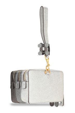 ANYA HINDMARCH Color-block metallic leather box clutch