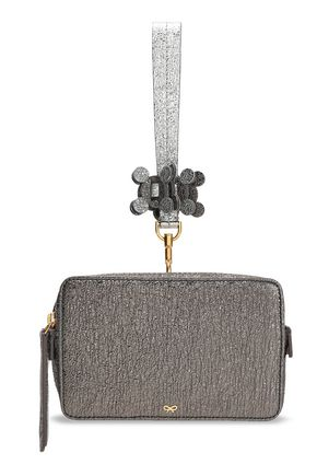 ANYA HINDMARCH Color-block metallic leather box clutch