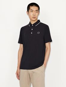 ARMANI EXCHANGE CLASSIC CIRCLE LOGO BICOLOR POLO SHORT SLEEVES POLO [*** pickupInStoreShippingNotGuaranteed_info ***] f