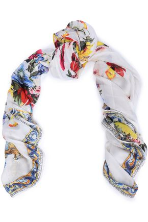 DOLCE & GABBANA Floral-print mdoal and cashmere-blend scarf