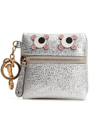 ANYA HINDMARCH Appliquéd metallic cracked-leather key wallet