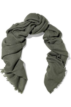 BRUNELLO CUCINELLI Sequin-embellished cashmere and silk-blend scarf