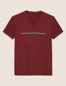 ARMANI EXCHANGE SLIM-FIT REVERSE REFLECT LOGO V-NECK Logo T-shirt Man r