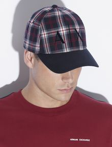 ARMANI EXCHANGE PLAID LOGO HAT Hat [*** pickupInStoreShippingNotGuaranteed_info ***] e