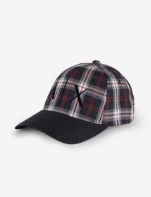 ARMANI EXCHANGE PLAID LOGO HAT Hat [*** pickupInStoreShippingNotGuaranteed_info ***] f
