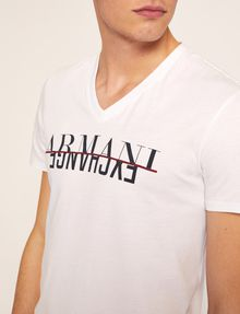 ARMANI EXCHANGE SLIM-FIT REVERSE REFLECT LOGO V-NECK Logo T-shirt Man b